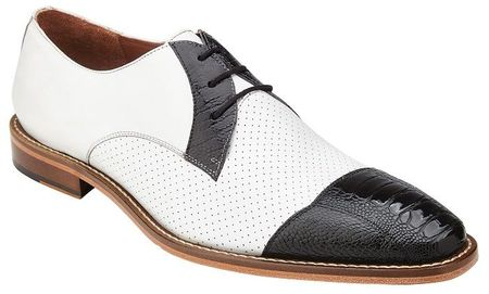 Belvedere White Black Ostrich Cap Toe Shoes Monaco - click to enlarge