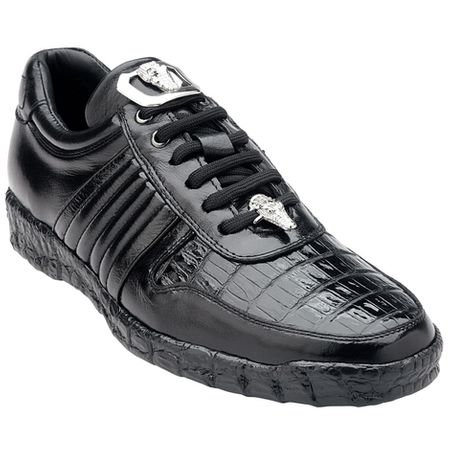 Belvedere Shoes Black Crocodile Trim Sneakers Astor 3000 - click to enlarge