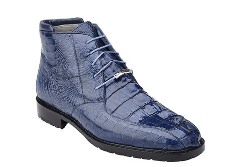 Belvedere Mens Blue Hornback Crocodile Ostrich Boots Barone - click to enlarge
