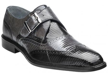 Belvedere Pasta Black Grey Lizard Exotic Skin Shoes  - click to enlarge