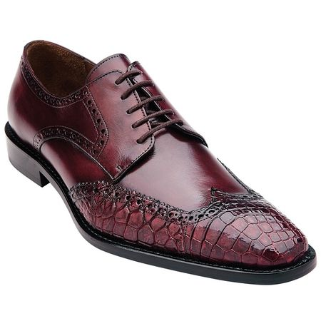Belvedere Men's Burgundy Alligator Skin Wingtip Shoes Urbano 3B0 - click to enlarge
