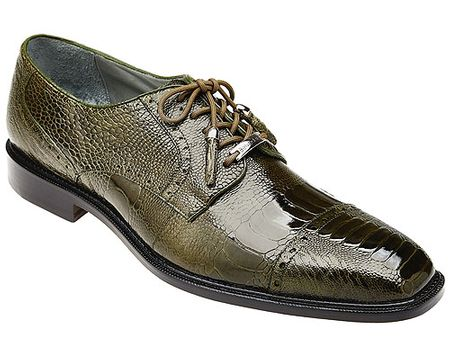 Belvedere Mens Green Ostrich Leg Skin Shoes Batta - click to enlarge