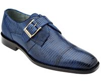 Belvedere Mens Navy Genuine Lizard Skin Shoes Otto 1498