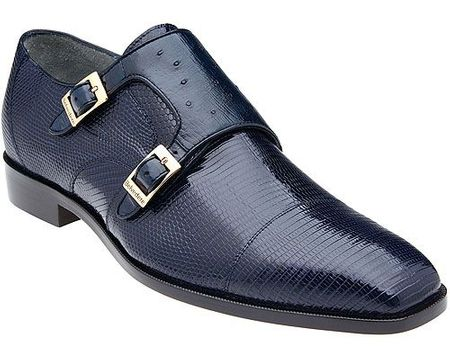 Belvedere Mens Navy Genuine Lizard Skin Shoes Pablo - click to enlarge