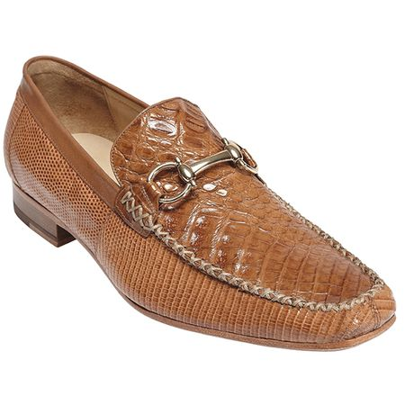 Belvedere Mens Saddle Crocodile Top Stitched Loafers Italo 1010 - click to enlarge