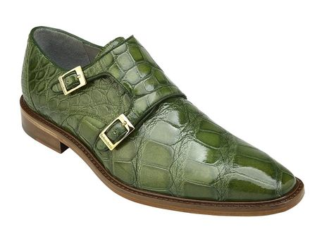 Belvedere Alligator Shoes Mens Green Double Monk Strap Oscar  - click to enlarge