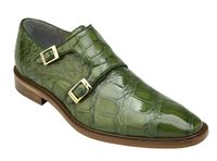 Belvedere Alligator Shoes Mens Green Double Monk Strap Oscar