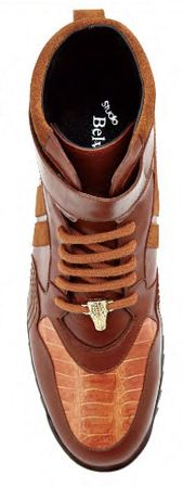 Belvedere Mens Honey Ostrich Skin Casual Sneakers Rino 96002 - click to enlarge