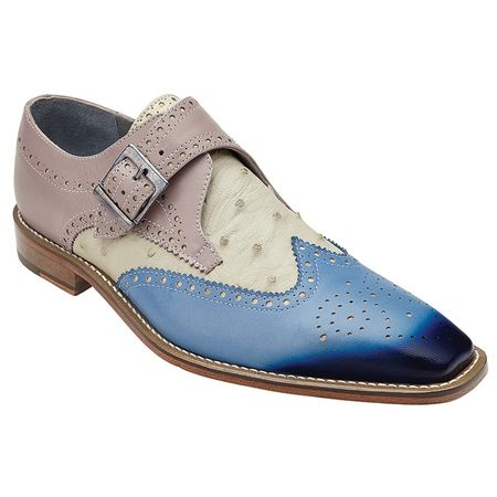 Belvedere Mens Blue/Taupe Monk Strap Ostrich Shoes Furio - click to enlarge