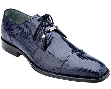 Belvedere Mens Navy Teju Lizard Skin Shoes Karmelo 1497 - click to enlarge