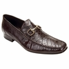 Belvedere Mens Brown Crocodile Top Stitched Loafers Italo 1010