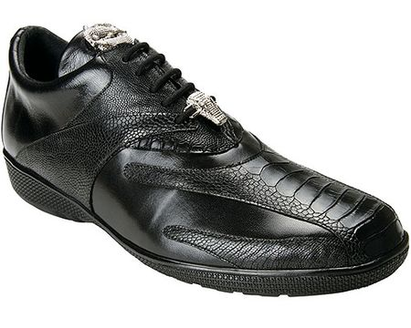 Belvedere Mens Black Ostrich Leg Exotic Sneakers Bene - click to enlarge