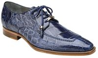 Belvedere Men's Blue Alligator Shoes Split Toe Lorenzo
