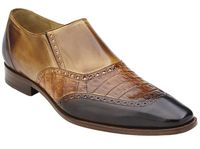 Belvedere Shoes Mens Brown Crocodile Calf Wingtip Loafers Lucas