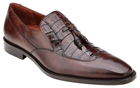Belvedere Shoes Men Brown Alligator Wingtip Tassel Loafer Bosco - click to enlarge