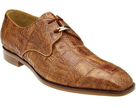 Belvedere Honey Tan Crocodile Patchwork Shoes Sabato - click to enlarge