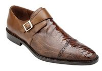 Belvedere Ostrich Shoes Mens Almond Brown Side Buckle Strap Salinas