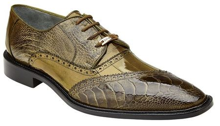 Belvedere Mens Shoes Olive Ostrich Eel Lace Up Nino - click to enlarge