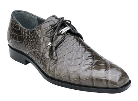 Belvedere Gray Alligator Shoes Plain Toe Lago