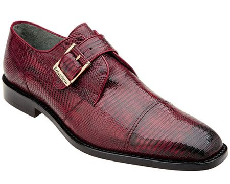 Belvedere Mens Burgundy Genuine Lizard Skin Shoes Otto 1498 - click to enlarge