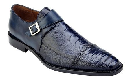 Belvedere Ostrich Shoes Mens Blue Monk Strap Salinas  - click to enlarge