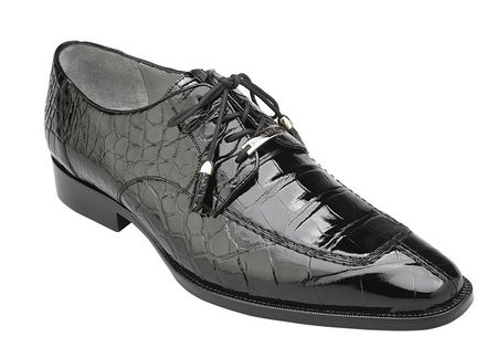 Belvedere Alligator Shoes Mens Black Split Toe Oxford Lorenzo B01 - click to enlarge