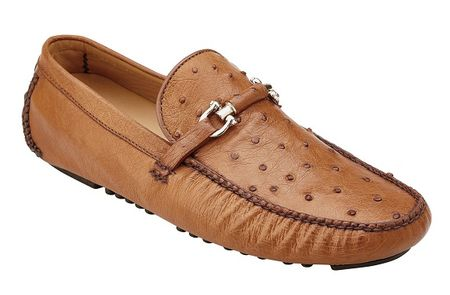 Belvedere Ostrich Shoes Mens Brandy Driver Slip On Omar 50V - click to enlarge