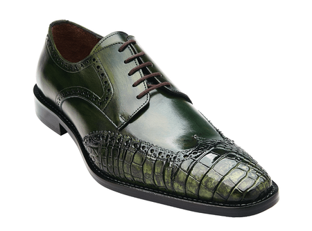 Belvedere Men's Emerald Green Alligator Wingtip Shoes Urbano 3B0 - click to enlarge