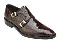 Belvedere Alligator Shoes Mens Brown Double Monk Strap Oscar