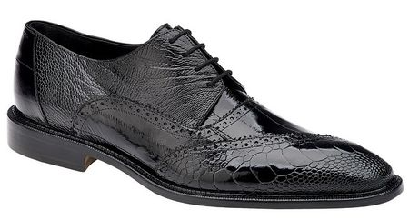 Belvedere Nino Black Ostrich Eel Brogue Shoes OB4 - click to enlarge