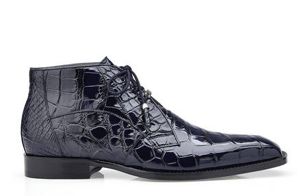 Belvedere Mens Navy Blue Alligator Dress Boots Stefano - click to enlarge