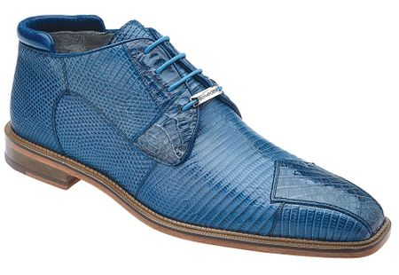 Belvedere Napoli Mens Blue Lizard Crocodile Dress Boots 1479 - click to enlarge