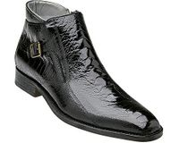 Belvedere Men's Black Ostrich Skin Ankle Boot Gregg