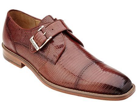 Belvedere Mens Peanut Tan Genuine Lizard Skin Shoes Otto 1498 - click to enlarge