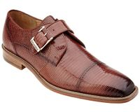 Belvedere Mens Peanut Tan Genuine Lizard Skin Shoes Otto 1498