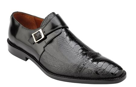 Belvedere Ostrich Shoes Mens Black Side Buckle Strap Salinas  - click to enlarge