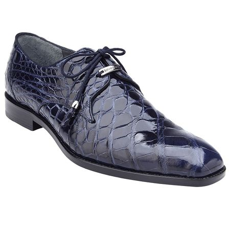 Belvedere Alligator Shoes Mens Blue Italian Lace Up Lago