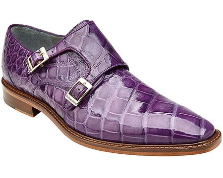 Belvedere Lavender Purple Alligator Shoes Double Monk Strap Oscar - click to enlarge
