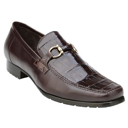 Belvedere Shoes Mens Brown Alligator Top Gucci Style Loafer Plato - click to enlarge
