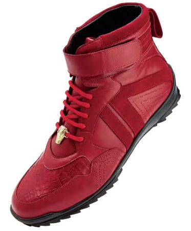 Belvedere Mens Red Ostrich Skin Casual Sneakers Rino 96002 - click to enlarge