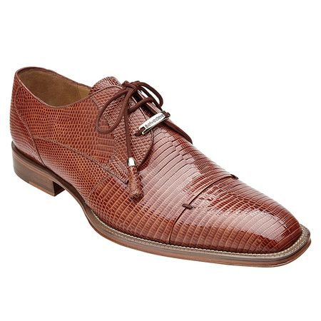 Belvedere Karmelo Tan Lizard Skin Cap Toe Shoes - click to enlarge