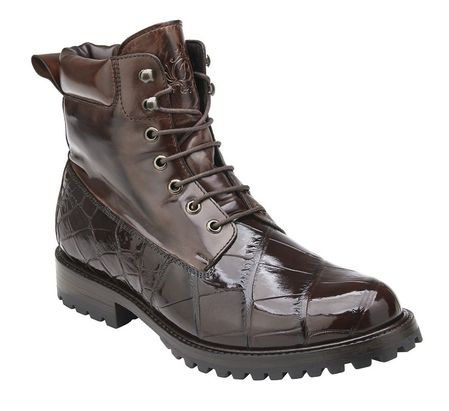 Belvedere Chocolate Brown Alligator Work Boot Logan - click to enlarge