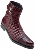 Belvedere Libero Mens Wine Alligator Trim Quilt Boots 819
