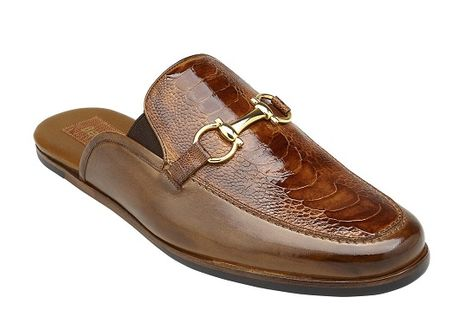 Belvedere Shoes Mens Brandy Brown Ostrich Skin Slide Ray - click to enlarge