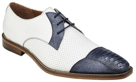 Belvedere White Blue Ostrich Cap Toe Shoes Monaco - click to enlarge