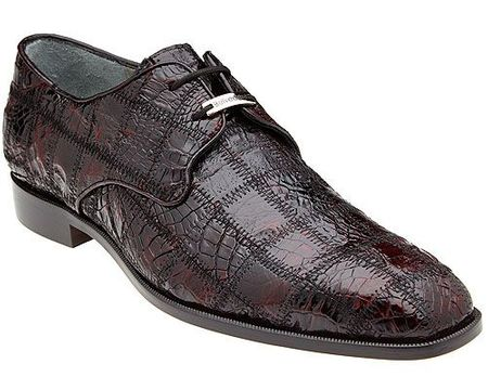 Belvedere Black Cherry Crocodile Patchwork Shoes Sabato
