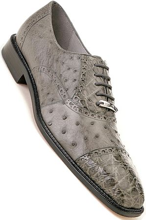 Belvedere Onesto Mens Gray Ostrich Crocodile Cap Toe Shoes 1419 - click to enlarge