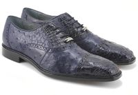 Belvedere Onesto Mens Navy Ostrich Crocodile Cap Toe Shoes 1419