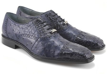 Belvedere Onesto Mens Navy Ostrich Crocodile Cap Toe Shoes 1419 - click to enlarge