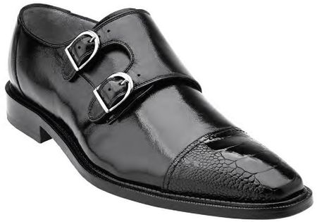 Belvedere Amico Mens Black Ostrich Trim Cap Toe 2 Buckle 1618 - click to enlarge